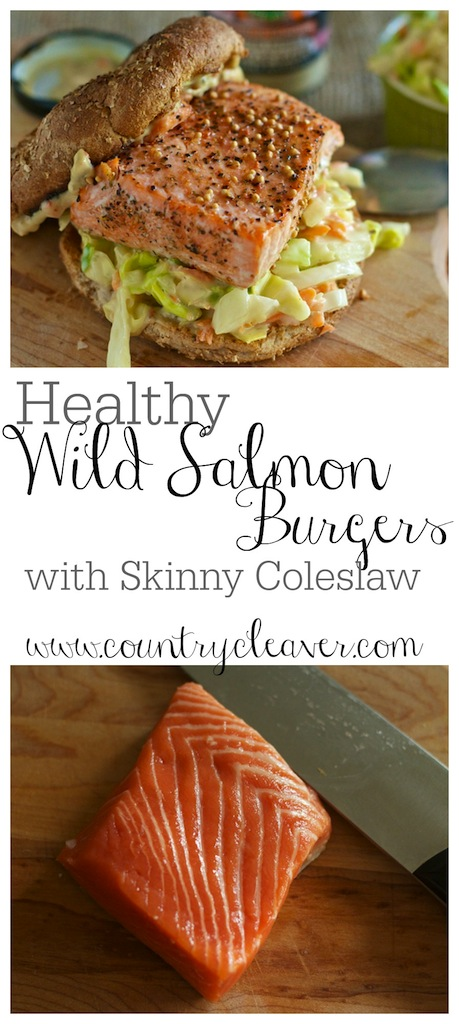 Healthy Wild Salmon Burgers with Skinny Coleslaw - www.countrycleaver.com