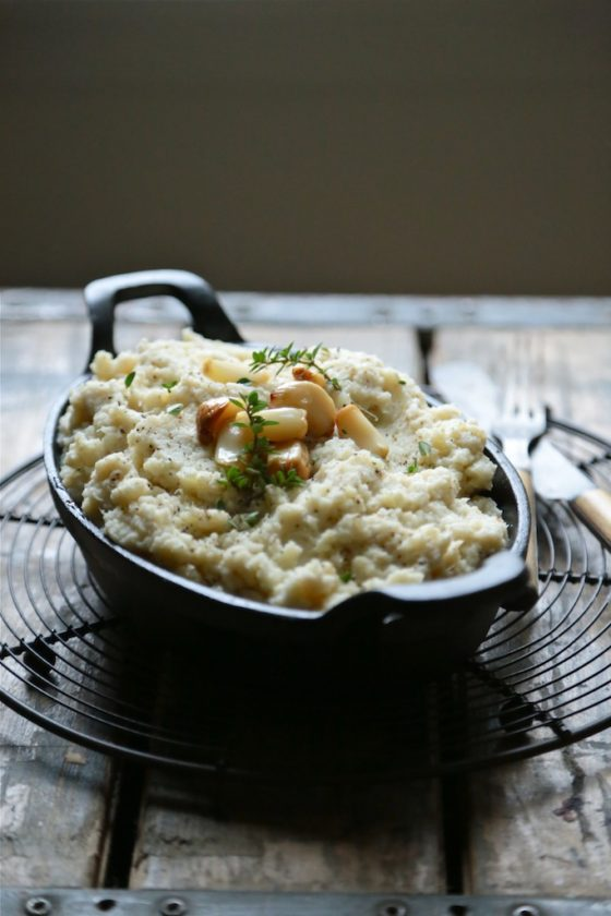 Roasted Garlic Whipped Cauliflower - www.countrycleaver.com You won't even be able to tell these aren't mashed potatoes!! I SWEAR!