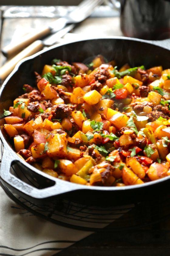 Cowboy Skillet Hash for TWO!! This is a great one skillet breakfast made just for TWO!