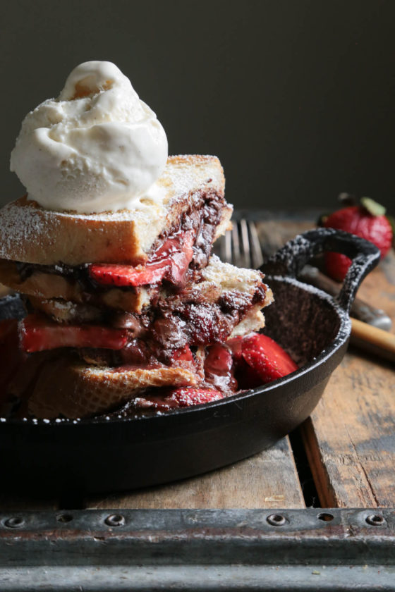 Nutella Strawberry Panini - www.countrycleaver.com With ICE CREAM OF COURSE!!